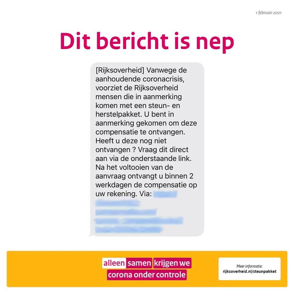 SOBZ - Rijksoverheid - voorbeeld phishingbericht
